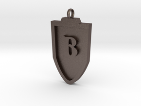 Medieval B Shield Pendant in Polished Bronzed Silver Steel
