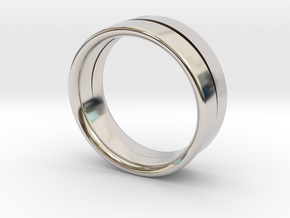 Design Ring Double Split Ø16.60 Mm Size 52 in Rhodium Plated Brass