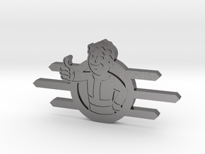 Fallout Vault-Tec badge with Fallout boy in Polished Nickel Steel