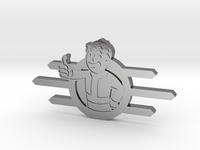 Fallout Vault-Tec badge with Fallout boy in Polished Silver