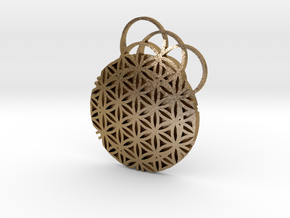 Flower Of Life Pendent in Polished Gold Steel