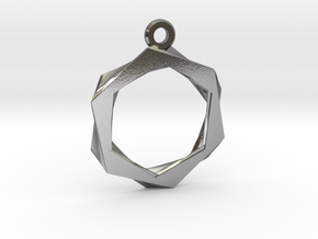 Hexagon Pendant in Polished Silver