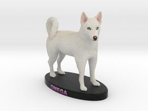 Custom Dog Figurine - Omega in Full Color Sandstone