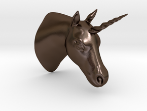 Unicorn Bust in Polished Bronze Steel