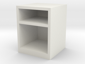 1:24 Simple Bedside Table in White Natural Versatile Plastic