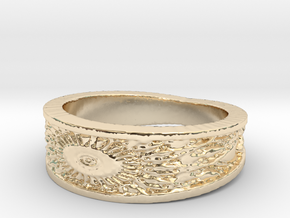 Sunflower Ring Size 7 in 14K Yellow Gold