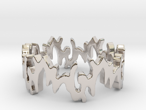 Curves 7 Size 7 Ring Size 7 in Rhodium Plated Brass