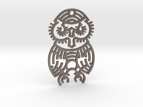 Owl / Búho in Polished Bronzed Silver Steel
