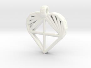 Voronoi Heart Pendant in White Processed Versatile Plastic