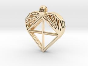 Voronoi Heart Pendant in 14k Gold Plated Brass