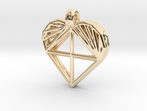 Voronoi Heart Pendant in 14K Yellow Gold