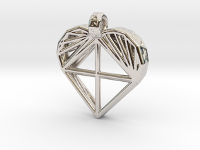 Voronoi Heart Pendant in Platinum