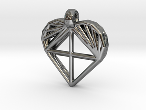 Voronoi Heart Pendant in Fine Detail Polished Silver