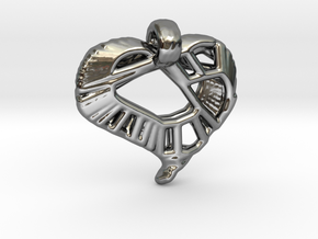 Voronoi Stylized Heart Pendant in Fine Detail Polished Silver
