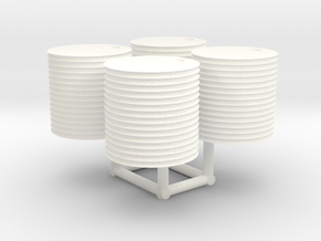 N scale 500-gallon water tank (set of 4) in White Processed Versatile Plastic