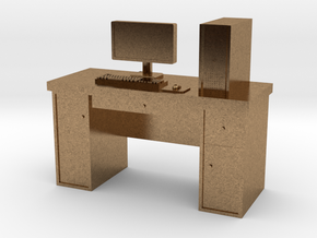 HO scale PC with desk in Natural Brass
