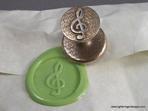 Treble Clef Wax Seal in Polished Bronzed Silver Steel