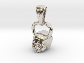 Kettlebell Skull Pendant .75 Scale With Bail in Rhodium Plated Brass
