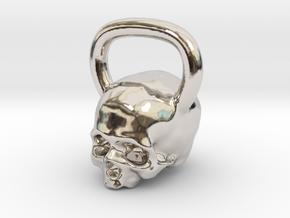 Kettlebell Skull Pendant .75 Scale in Rhodium Plated Brass