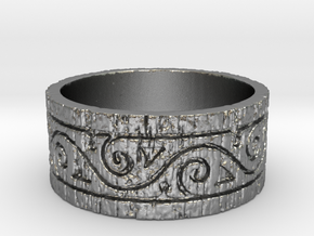 Weathered Wood Tribal Ring in Natural Silver