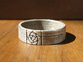 Arts and Crafts Rose Ring in Polished Bronzed Silver Steel
