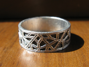 Moorish Geometric Lattice Ring in Smooth Fine Detail Plastic