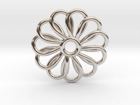 Abp01 Flower Pendant in Rhodium Plated Brass