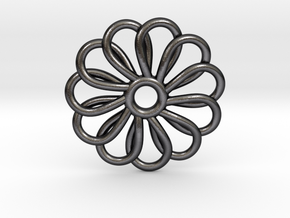 Abp01 Flower Pendant in Polished and Bronzed Black Steel
