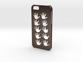 Iphone 6 Hands case in Polished Bronze Steel