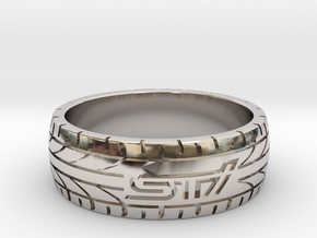 Subaru STI ring - 21 mm (US size 11 1/2) in Rhodium Plated Brass