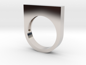 Modern Rectangle Bold Ring in Rhodium Plated Brass