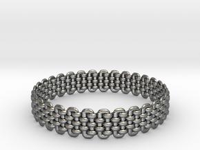 Wicker Pattern Bracelet Size 1 in Fine Detail Polished Silver