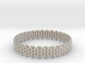 Wicker Pattern Bracelet Size 2 in Platinum
