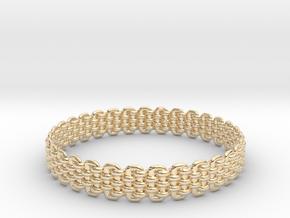 Wicker Pattern Bracelet Size 6 in 14k Gold Plated Brass
