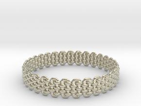 Wicker Pattern Bracelet Size 3 in 14k White Gold