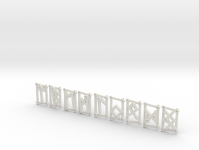 Small Aett 3 - Futhark Runes - 8 of 24 (plus one) in White Natural Versatile Plastic