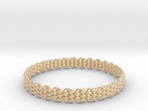 Wicker Pattern Bracelet Size 12 in 14k Gold Plated Brass