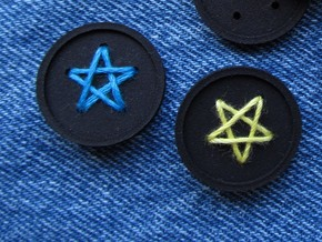 "1"" five-holed buttons (two) in Blue Processed Versatile Plastic"