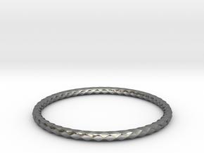 Diamond Pattern Bracelet USA Size Small in Fine Detail Polished Silver