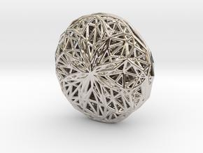 Voronoi-Parabola-Pendant1 in Rhodium Plated Brass