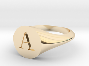 Letter A - Signet Ring Size 6 in 14k Gold Plated Brass