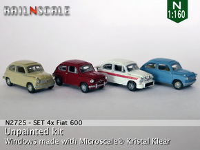 SET 4x Fiat 600 (N 1:160) in Smooth Fine Detail Plastic