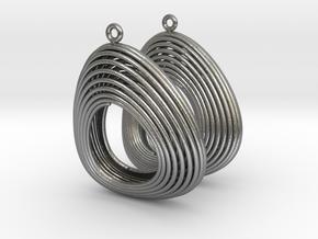 Lotka Volterra Earrings Pair in Natural Silver