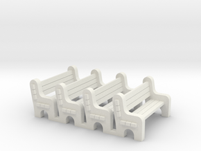 Street Bench 'O' 48:1 Scale Qty (4) in White Natural Versatile Plastic