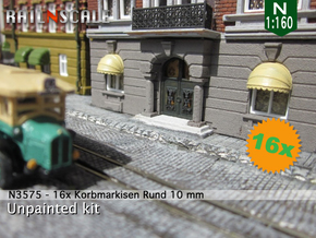 16x Korbmarkise rund 10 mm (N 1:160) in Frosted Ultra Detail