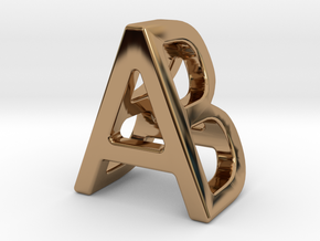 AB BA - Two way letter pendant in Polished Brass