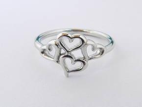 Hearts Ring in Rhodium Plated Brass
