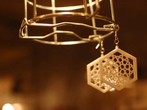 J&M Islamic Inspired Geometric Earrings in White Natural Versatile Plastic