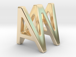 AW WA - Two way letter pendant in 14k Gold Plated Brass