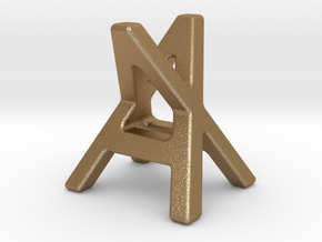 AX XA - Two way letter pendant in Matte Gold Steel